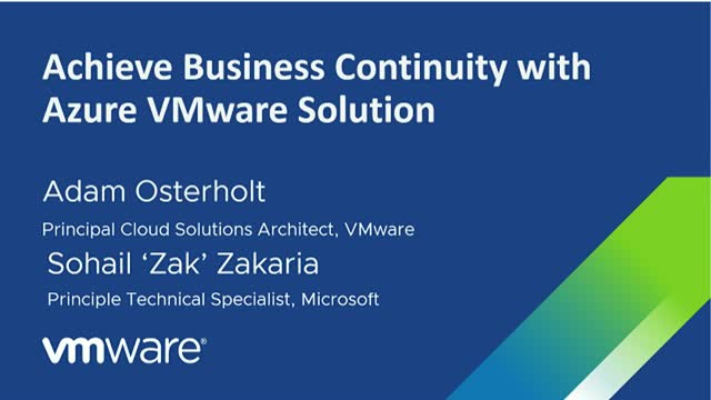 Achieve Business Continuity with Azure VMware Solution