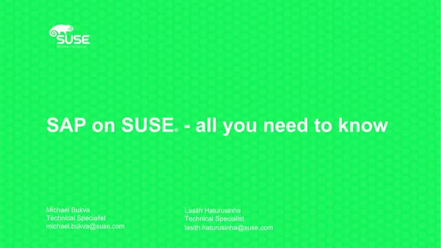 SAP on SUSE: Everything You Need to Know (ANZ Presentation)