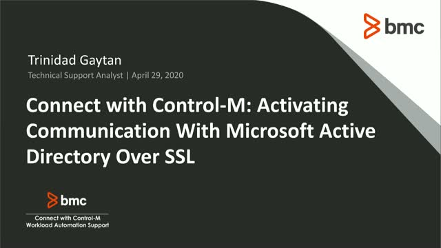 Connect With Control-M: Communication With MS Active Directory Over SSL