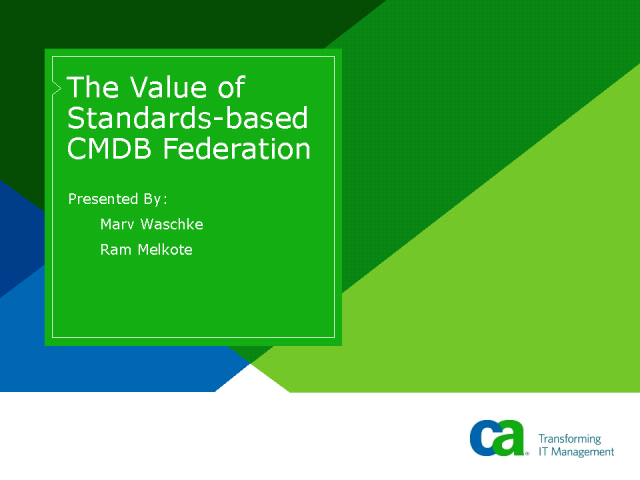 The Value of Standards-based CMDB Federation