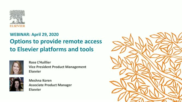 Options to provide remote access to Elsevier platforms and tools: EDT
