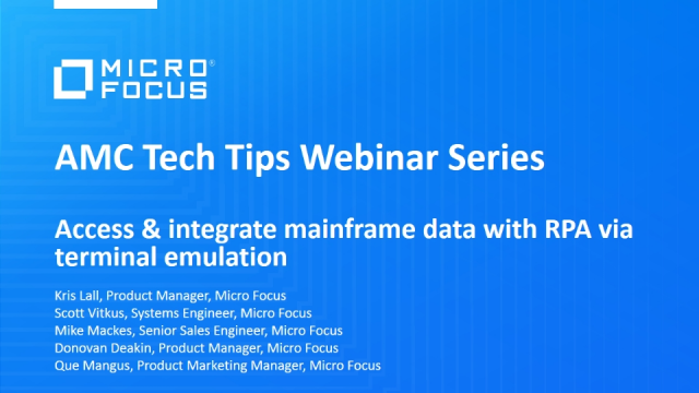 Tech Tips: Access & integrate mainframe data with RPA via terminal emulation