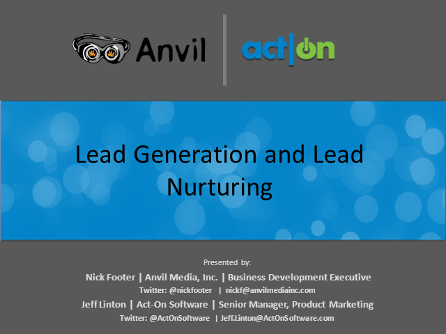 Lead Generation and Lead Nurturing