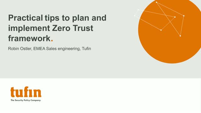 Webinar: Practical tips to plan and implement Zero Trust framework