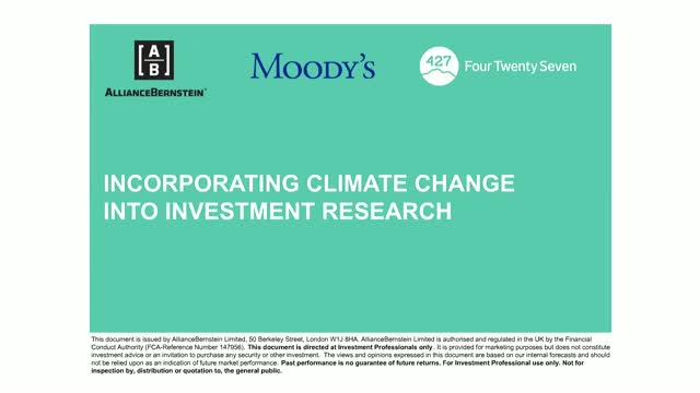 Incorporating Climate Change into Investment Research