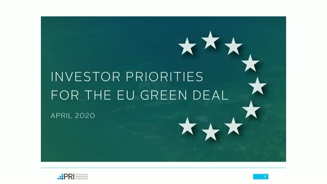 "Report launch ""Investor priorities for the EU Green Deal"""