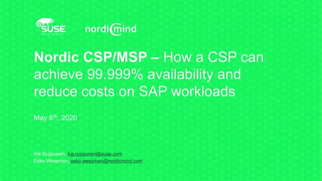 How a CSP can achieve 99.9999% availability and reduce costs on SAP workloads