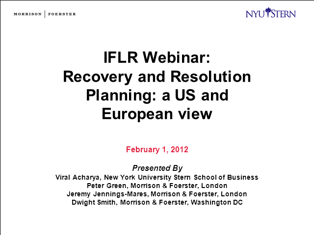 Recovery and resolution planning: a US and European view