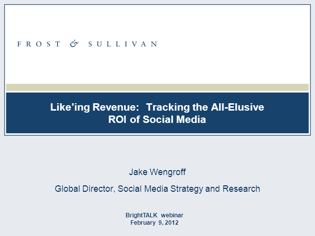 'Like'ing Revenue: Tracking the All-Elusive ROI of Social Media