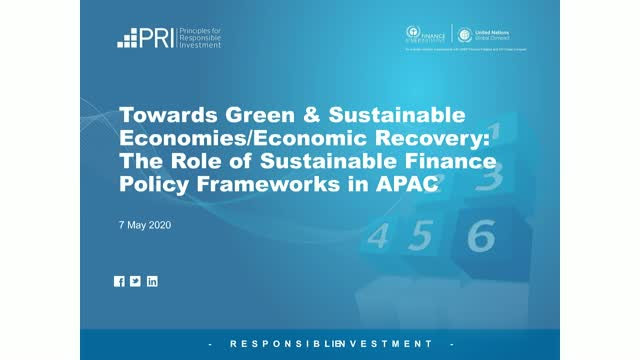 Towards Green & Sustainable Economies: Sustainable Finance Policy in APAC