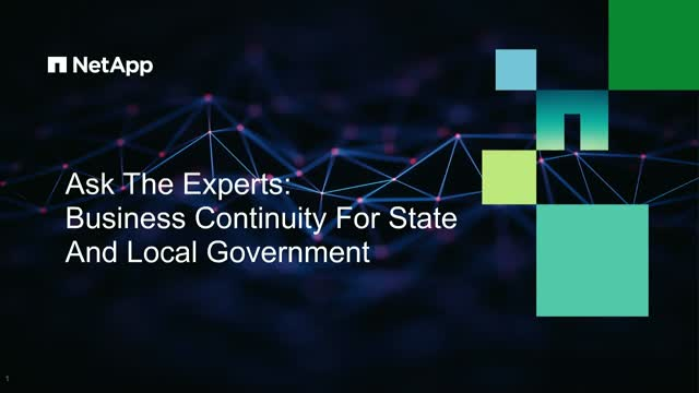 Ask the Experts webcast: Business Continuity for State and Local Government