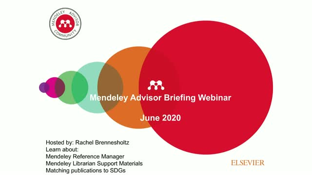 June 2020 Mendeley Advisor Briefing - PM session