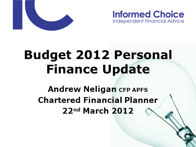 Your Budget 2012 Personal Finance Update