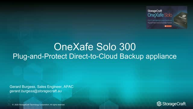 New! Plug-and-Protect Direct to Cloud Data Protection Appliance OneXafe Solo