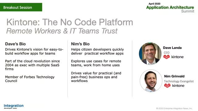 "Application Architecture Summit ""The No Code Platform Remote Workers Trust"""