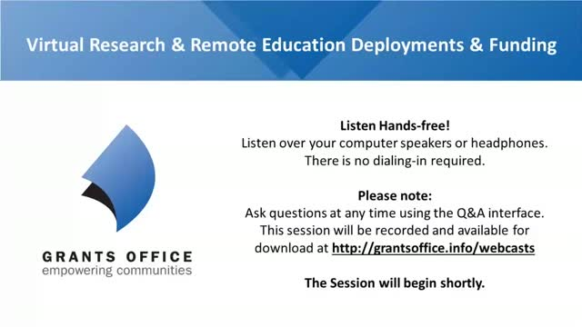 Strategies for Virtual Research & Remote Education Deployments & Funding