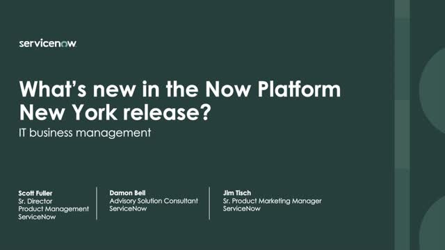 What's new in the ITBM Now Platform New York release
