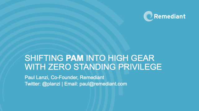 Shifting PAM into High Gear with Zero Standing Privilege (ZSP)