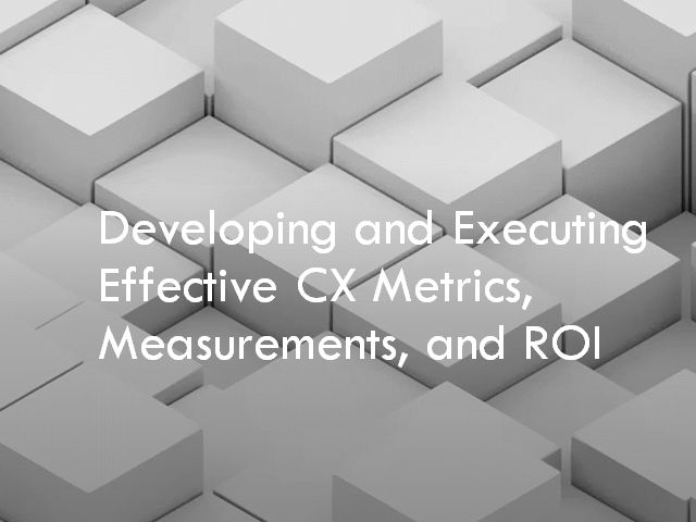Developing and Executing Effective CX Metrics, Measurements, and ROI