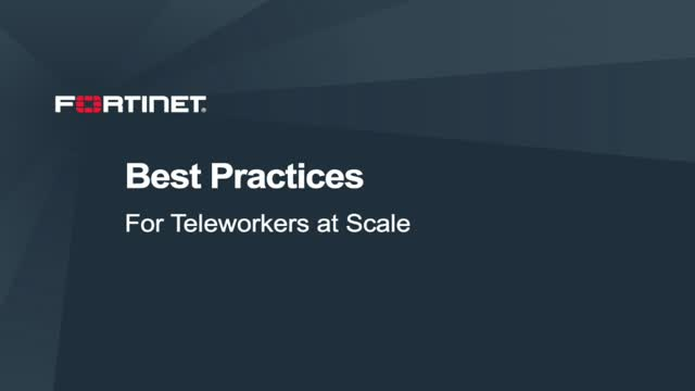 Best Practices for Teleworkers at Scale