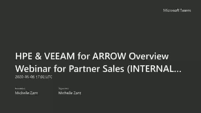 HPE & Veeam - Better Together for Arrow Internal Sales Reps