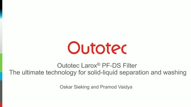 Outotec Larox PF-DS: Ultimate technology for solid-liquid separation and washing