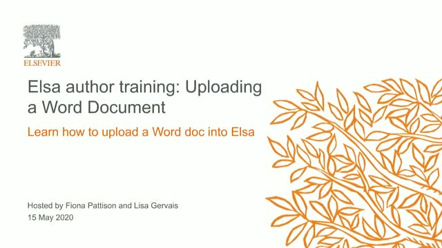 Elsa Author Training: Uploading Word Documents