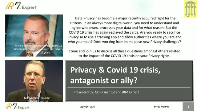 Privacy & Covid 19 crisis, antagonist or ally?