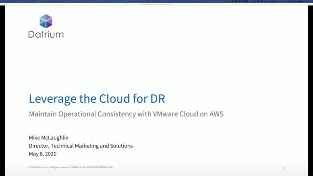 Leverage the Cloud for DR - Maintain Operational Consistency with VMC on AWS