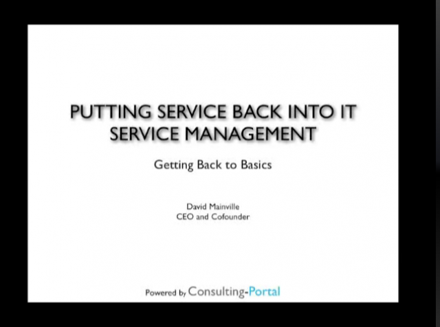 Putting the service back into Service Management