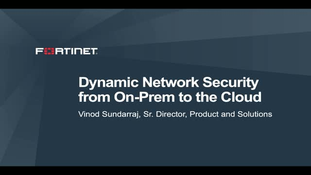 Dynamic Network Security from On-prem to the Cloud