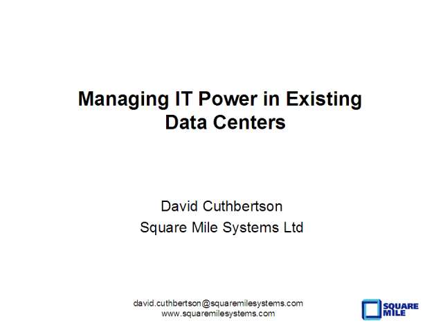 Managing IT Power in Existing Data Centers