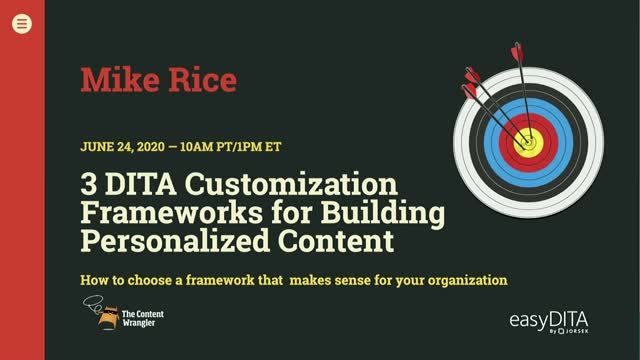 Three DITA Customization Frameworks for Building Personalized Content