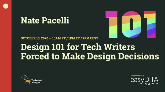Design 101 for Tech Writers Forced to Make Design Decisions