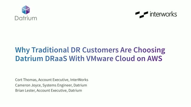 Datrium & InterWorks: Why Traditional DR customers Are Choosing Datrium DRaaS
