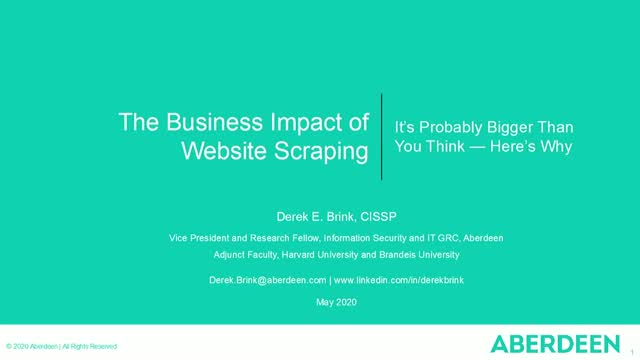 Aberdeen Research: Quantify the Business Impact from Web Scraping
