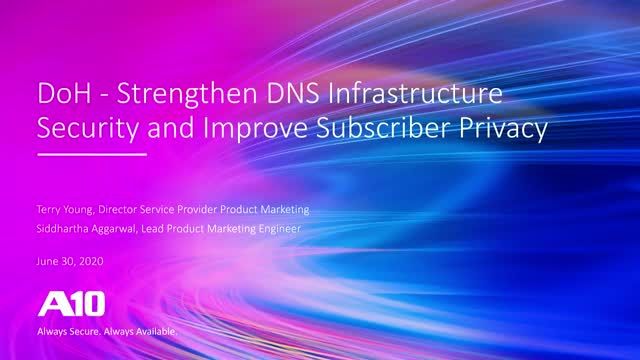 DoH - Strengthen DNS Infrastructure Security and Improve Subscriber Privacy