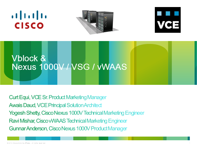 Vblock & Nexus 1000V / VSG / vWAAS