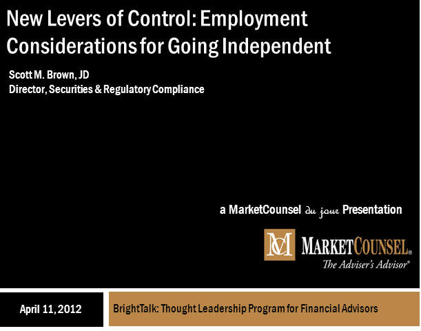 Part 2: New Levers of Control: Employment Considerations for Going Independent