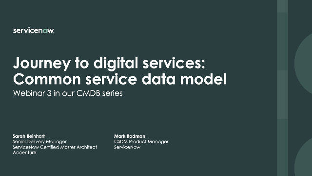 Digitizing services using the Common Service Data Model (Part 3 in CMDB series)