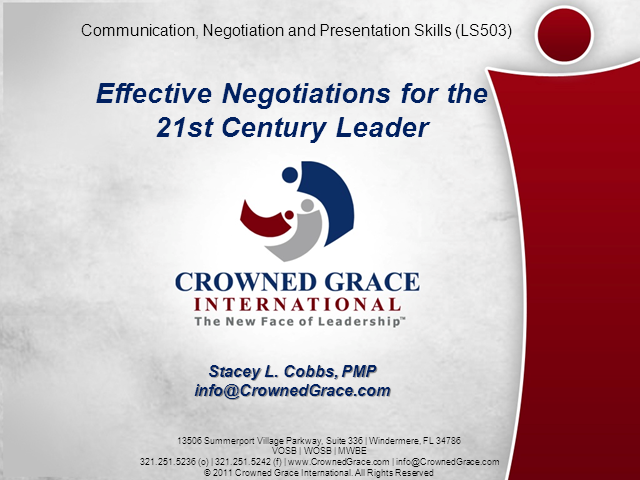 Effective Negotiaions For The 21st Century Leader