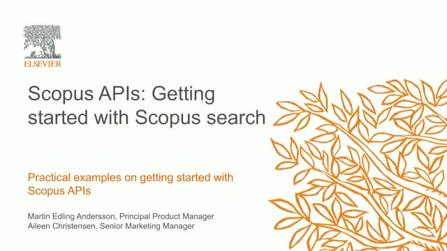 Scopus APIs: Getting started with Scopus search