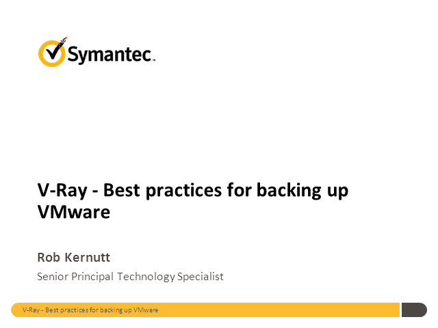 V-ray the best practice for backing up VMware