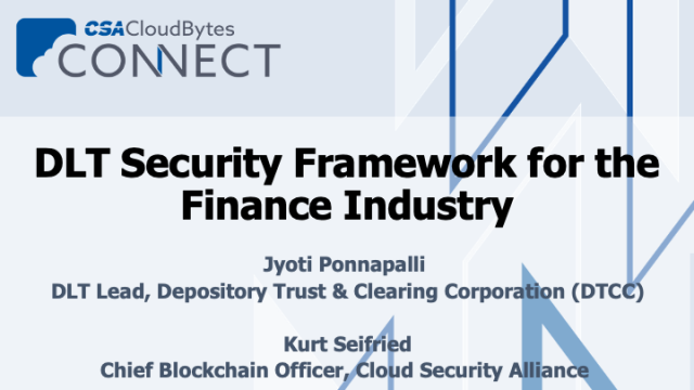 DLT Security Framework for the Finance Industry