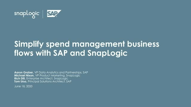 Simplify spend management business flows with SAP and SnapLogic