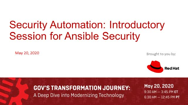 Security Automation: Introductory session for Ansible Security