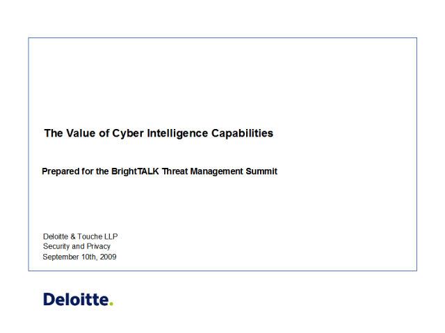 The Value of Cyber Intelligence Capabilities