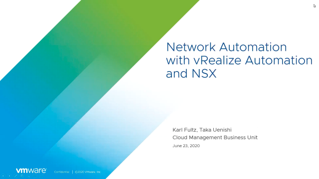 Network Automation with vRealize Automation and NSX