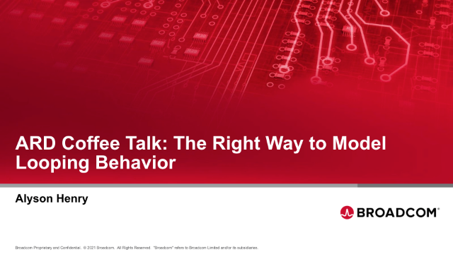 ARD Coffee Talk: The Right Way to Model Looping Behavior