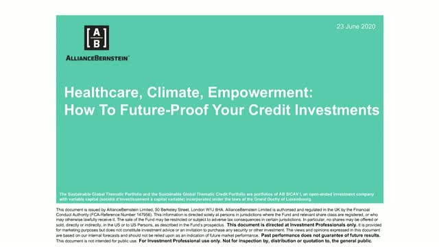 Healthcare, Climate, Empowerment: How to Future-Proof Your Credit Investment